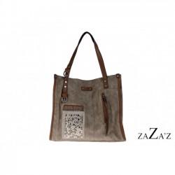 tas taupe kleur met veel binnenvakken rechthoek model
