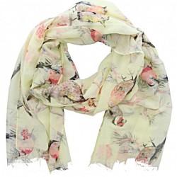 sjaal met birds lichte pastel tinten