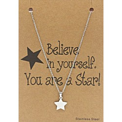 ketting met ster op giftcard Believe in Yourself. You are a Star!!