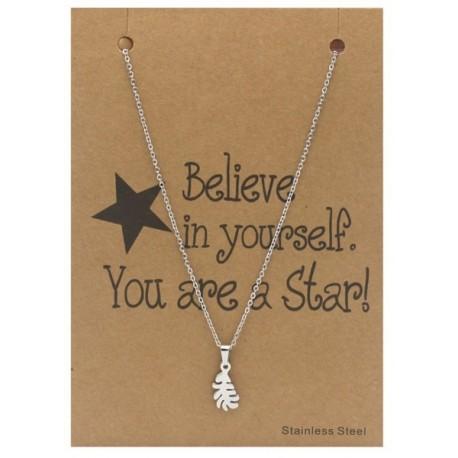 ketting met blaadje op giftcard Believe in Yourself. You are a Star!!