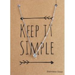 """ketting met """"diamant"""" steentje op giftcard Keep it Simple."""