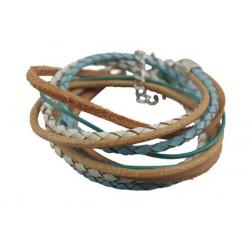 leren armband in bruin en blauwe kleuren