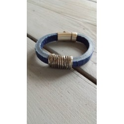 Italiaans leer armband in blauw